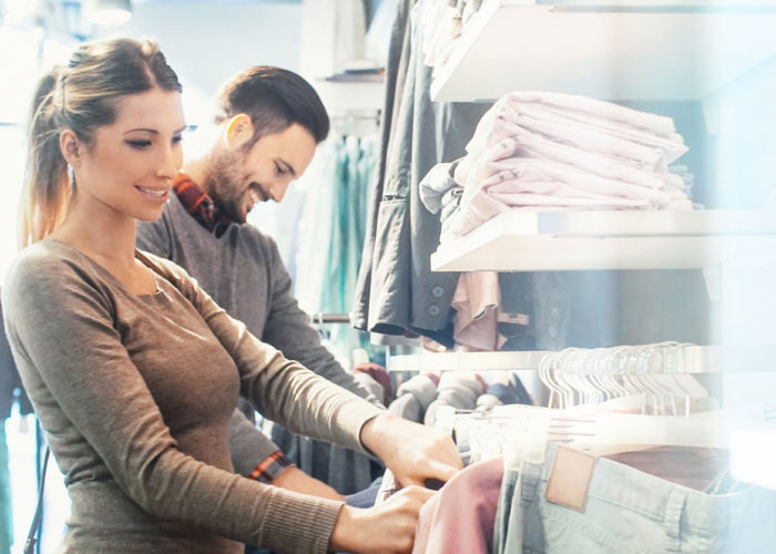 Woman and Man browsing clothes