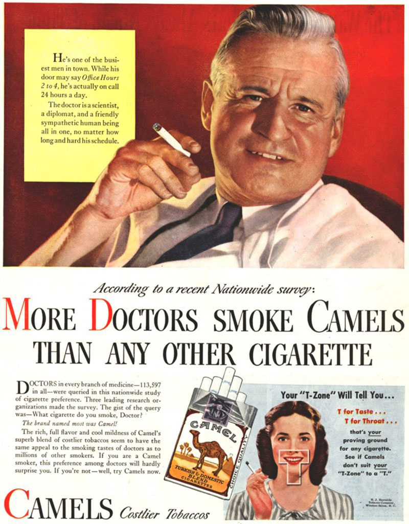 Full page vinage magazine add for Camels cigarettes.