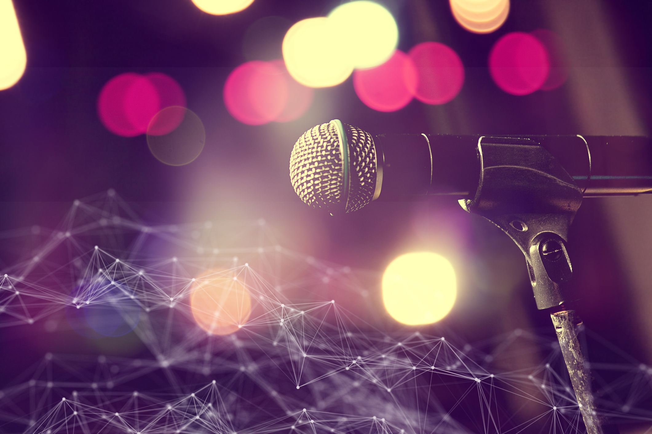 Big data and jazz music - microphone and stage lights