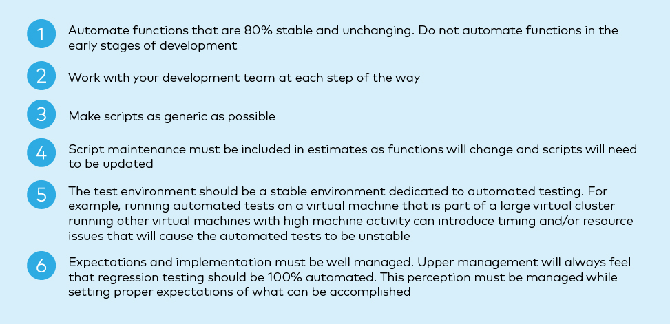 The six lessons learned on when automated testing does and doesn't work.
