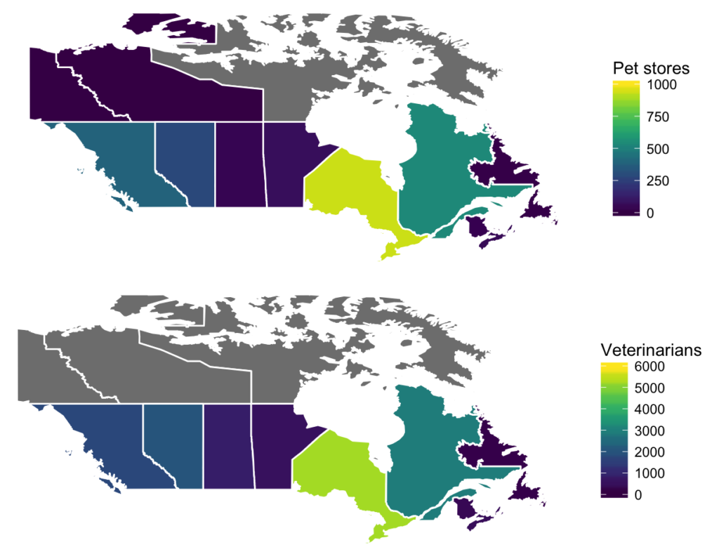 Two maps showing pet stores and veterinarians per province in Canada.