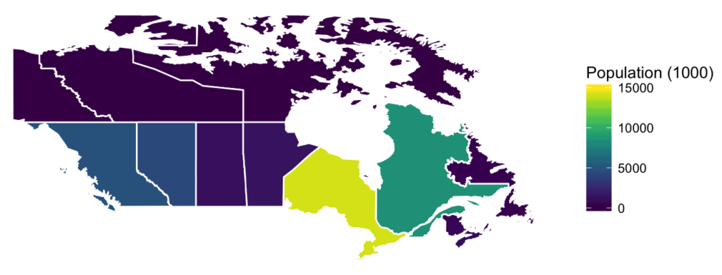 Map showing population density in Canada.
