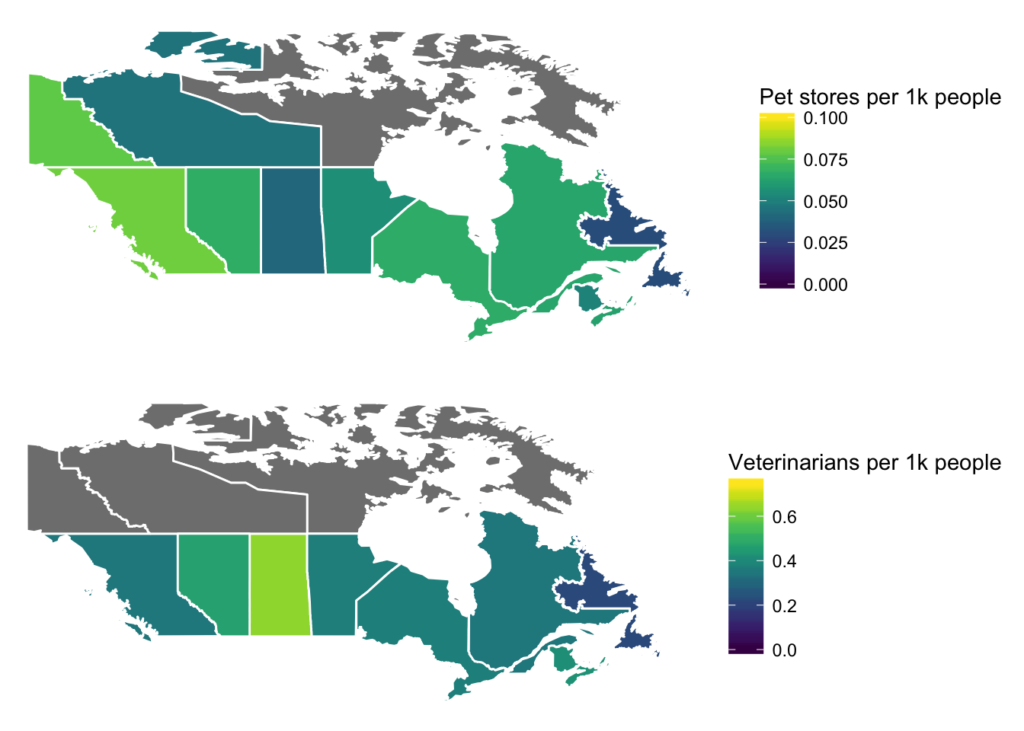 Two maps of Canada showing normalized data on pet stores and veterinarians for population size and plotted a per capita.