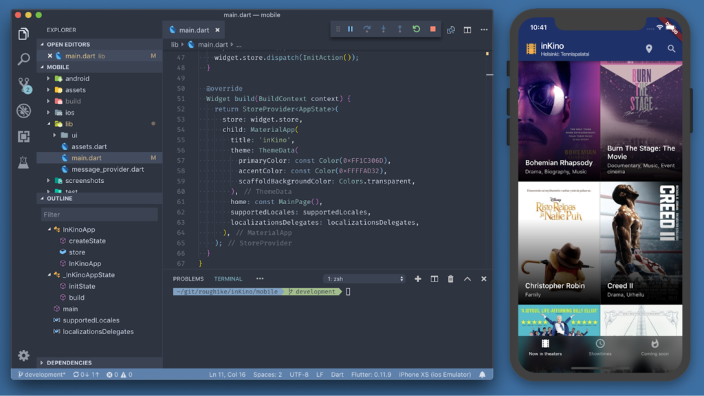 Screengrab of Flutter in action.