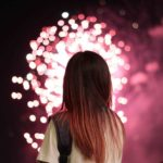 Girl watching fireworks